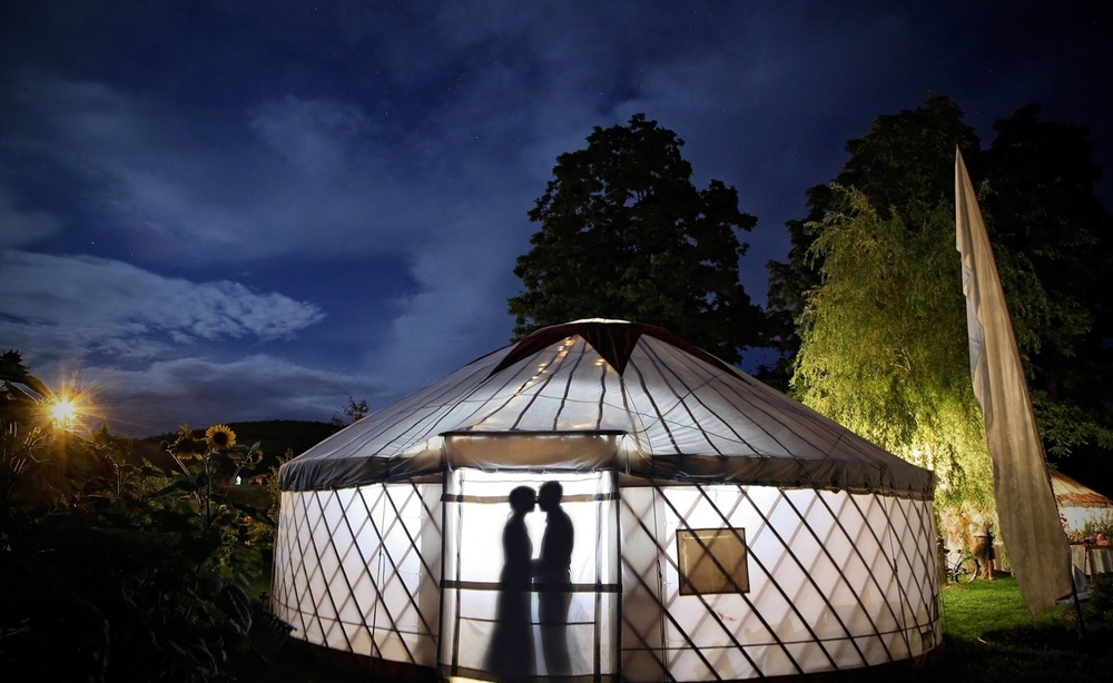 Our Lotus yurt sheltering an intimate moment