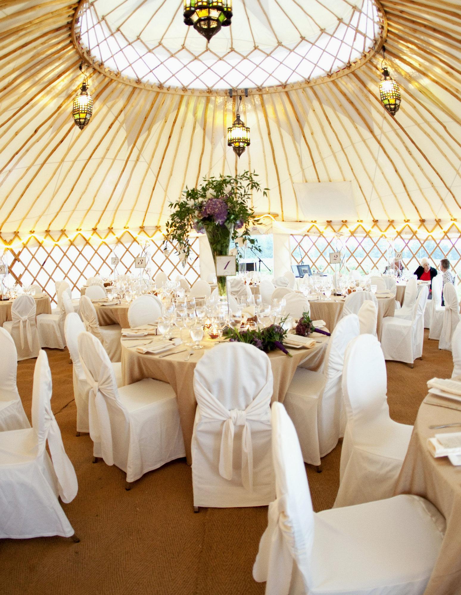 Elegant wedding reception in the Palace yurt